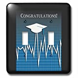 Beverly Turner Graduation Design - Medical Theme, Congratulations, Heart Beat Graph, Grad, Cap, Blue - Light Switch Covers - double toggle switch (lsp_234543_2)