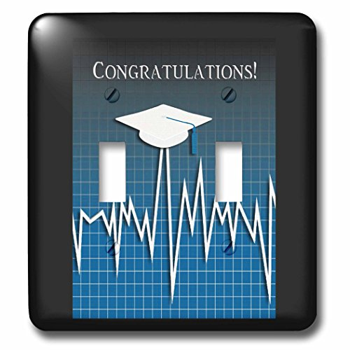 Beverly Turner Graduation Design - Medical Theme, Congratulations, Heart Beat Graph, Grad, Cap, Blue - Light Switch Covers - double toggle switch (lsp_234543_2) by 3dRose