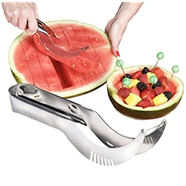 Watermelon Slicer & Server, Cutter & Corer - Quality Stainless Steel Melon Slicer Includes 5 Bonus Fruit Skewers / Cocktail Picks