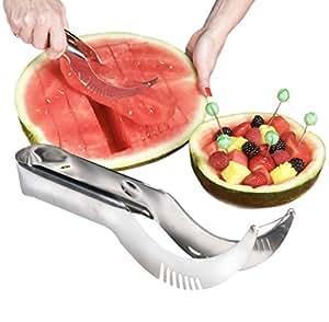 Watermelon Slicer & Server, Cutter & Corer - Quality Stainless Steel Melon Slicer Includes 5 Bonus Fruit Skewers / Cocktail Picks
