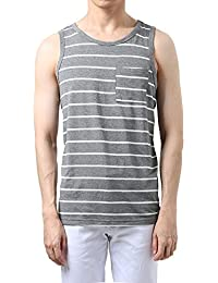 "<span class=""a-offscreen"">[Sponsored]</span>Allegra K Men Striped Round Neck Chest Patch Pocket Sleeveless Tank Top Vest"