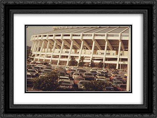 Stadium Atlanta Fulton (Atlanta-Fulton County Stadium 2X Matted 24x20 Black Ornate Framed Art Print from The Stadium Series)