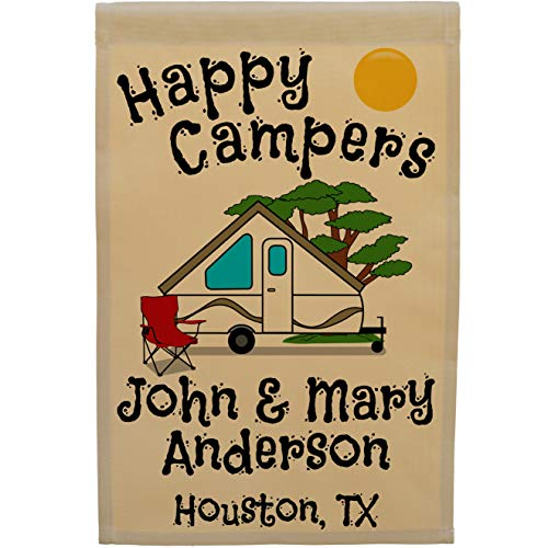 Happy Campers Pop-up Camper Personalized Campsite Flag, Customize Your Way (A-Frame Pop-up)