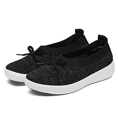 Black STQ Shoes Women Sneakers Casual Bowknot Loafers Breathable Flyknit Slip On Platform Walking rrPwUxq7