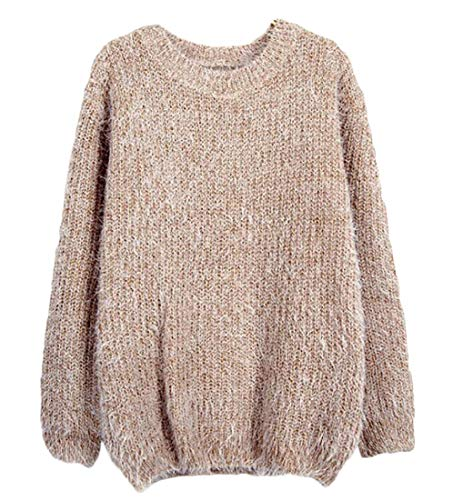 Nanquan Women Casual Loose Knit Fluffy Mohair Pullover Sweater Tops Khaki One Size