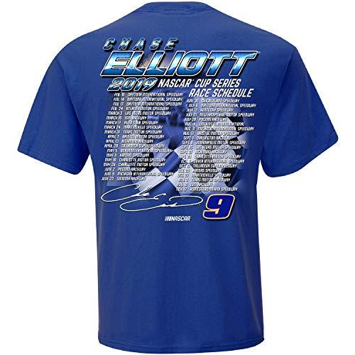 Checkered Flag 2019 NASCAR Cup Series Driver Schedule T-Shirt-Chase Elliott #9-Royal-XL