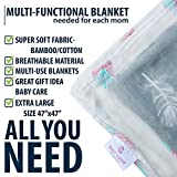 """Muslin Swaddle Blankets Large Size(47""""x47"""") Super Soft Breathable Bamboo Cotton Prevents Overheating-Multi-Use Set of 2 Gender Neutral Design Nursing Cover-Swaddling Blanket-Feather Print Boy Girl"""