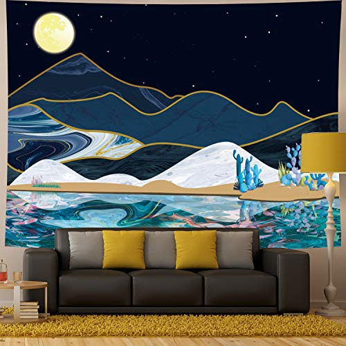 Generleo Moon Mountain Tapestry Psychedelic Watercolor Lake Mountain with Cactus Nature Landscape Tapestry Wall Hanging for Bedroom Living Room Dorm Room (H59.1×W78.7) ()