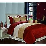 Cozy Beddings Amber 7-Piece Jacquard Comforter Set, Queen, Burgundy/Gold/Begie