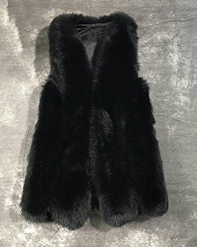 Sans Long Pour Femme Fausse Fourrure En Veste Blouson Noir Manches Manteau Parka 1q1S7Y6