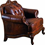 Chair Button Tufted Nail Head Trim Tri-Tone Leather