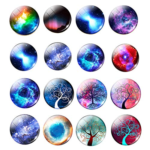30pcs 16mm Mixed Galaxy Earth Sun Planets Solar System Glass Cabochons Charms for Jewelry Making
