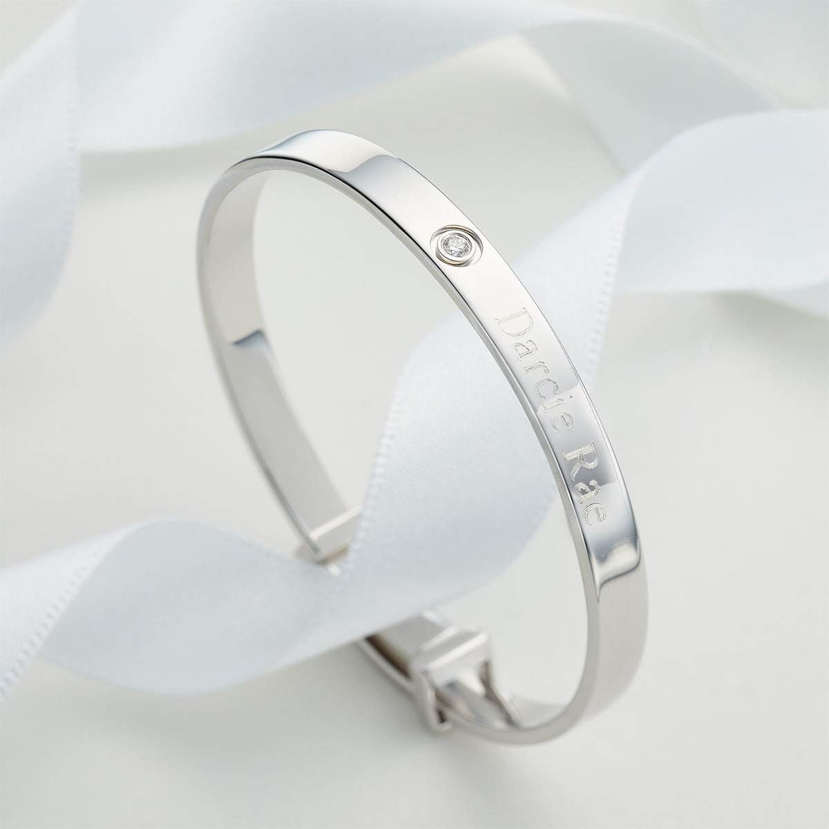 Molly B London | Personalized 925 Sterling Silver Baby's April Diamond Birthstone Baptism Bangle by Molly B London (Image #2)