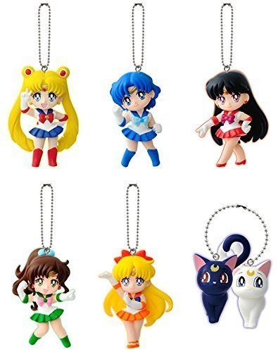 Sailor Moon Figure Keychain Complete Set of 6~20th Annivesary PVC Mascot Swing~