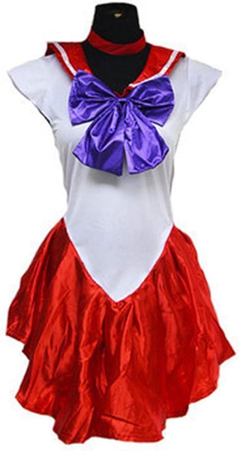 Baipin Disfraz de Guerrera Luna Rojo Vestido y Guantes Blancos ...