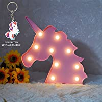 Glintee Unicorn LED Night Lamp Decorative Marquee Signs Battery Operated Light for Party Supplies -Wall Decoration for Living Room,Bedroom(Pink Unicorn Head)