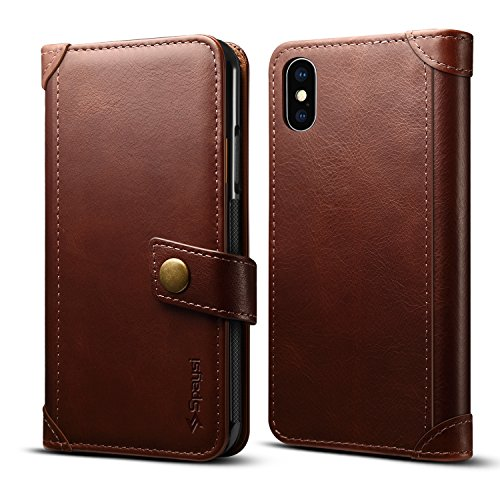 - Spaysi iPhone X Wallet Case Italian Genuine Leather Handmade Case for iPhone X Card Holder Case Slim iPhone X Folio Case Magnetic Closure iPhone X Flip Case Book Style Authentic Kickstand Dark Brown