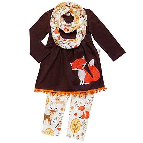 So Sydney Toddler Girls 3 Pc Halloween Fall Tunic Top Leggings Outfit, Infinity Scarf (XS (2T), Fox Pom) -
