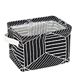 Unique Small Bathroom Storage Small Foldable Storage Basket Canvas Fabric Organizer Collapsible and Convenient For Nursery Babies Room 100% COTOON By USATDD (Black)