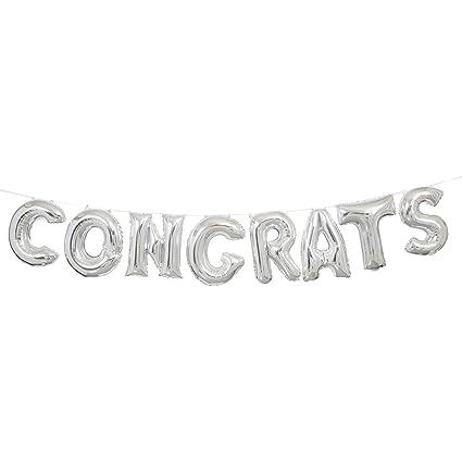 amazon com foil silver congrats letter balloon banner kit kitchen