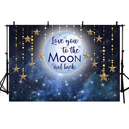 Moon Stars Decorations (MEHOFOTO Photo Background Love You to The Moon Night Sky Gold Hanging Stars Birthday Party Decoration Banner Baby Shower Backdrops for Photography 7x5ft)