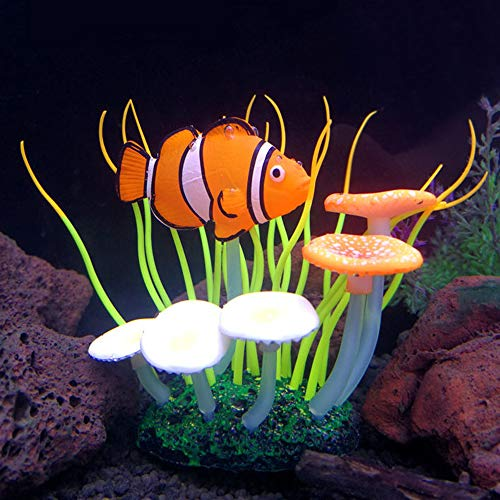 SLOME Aquarium Glowing Yellow Sea Anemone Ornament - Silicone Coral Decorations with Clownfish Ornament,Fine Sea Anemone Fish Tank Aquarium Artificial Decor