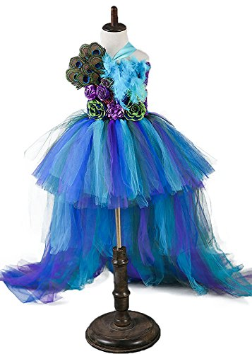 Tutu Dreams Girls Peacock Dresses for Wedding Formal Flower Girl Deluxe Feathers (Peacock, 8 fit 8-9t)]()