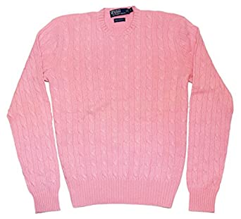 Polo Ralph Lauren Mens Cashmere Cable Crewneck Sweater Pink Large ...