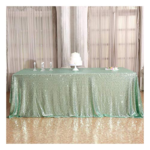 Poise3EHome 50×72'' Rectangle Sequin Tablecloth for Party Cake Dessert Table Exhibition Events, Mint Green -
