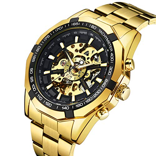 - Watch, Men's Watches Gold Fashion Skeleton Mechanical Business Self Automatic Winding Punk Style with Stainless Steel Band Wrist Watch