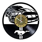 mustang car clock - Pieceful Ford Mustang Muscle car design vinyl record wall clock - gift idea for youth men, teens and boys - home & office rest room bedroom wall decor - customize your clock