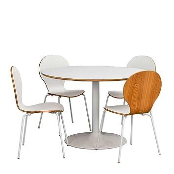 Pharao24 Esstisch Mit Stühlen In Weiß Tisch Rund Amazonde Küche