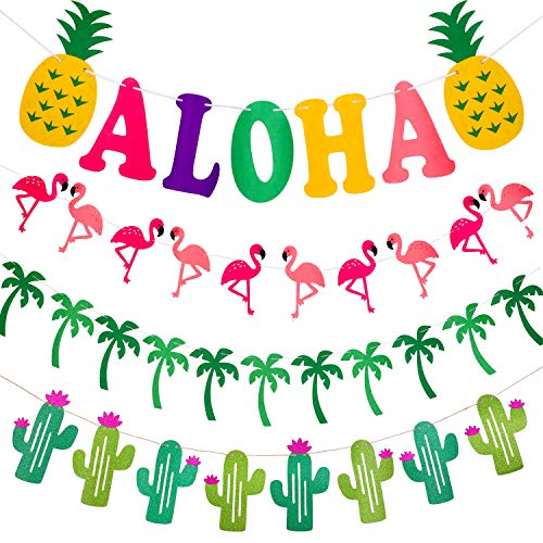 Zonon 4 Pieces Hawaiian Luau Tropical Party Decorations, Include Flamingo Palm Tree Cactus Aloha Banner for Aloha Party Decorations (Tree Banner Palm)