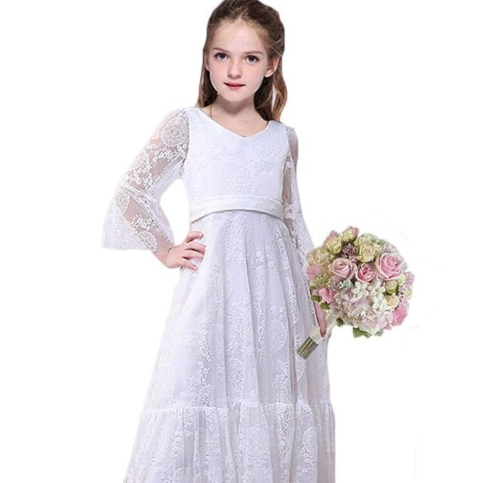 quality design 90869 67faa Abiti da ragazza con fiore bianco Abiti da sposa ragazza Abiti da damigella  d'onore Festa principessa Prom Abito da battesimo Avorio