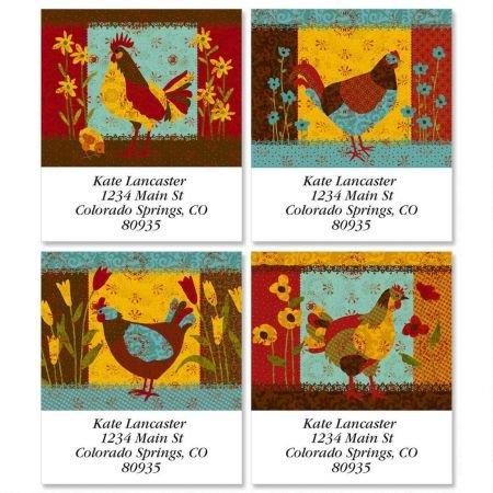 Labels Address Chicken - Calico Chicken Square Return Address Labels (4 Designs) - Set of 144 1-1/8