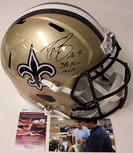 (Drew Brees Autographed Hand Signed Riddell New Orleans Saints Speed Full Size Football Helmet - with SB XLIV MVP inscription -)