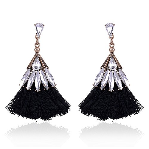 xury long Tassel Earrings for Women Beautiful Jewelry Vintage Earrings For Christmas Party 11colors (Black) ()