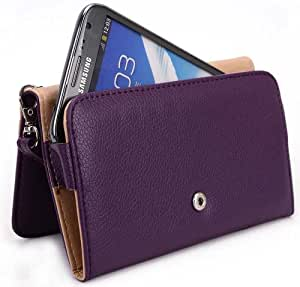 Wristlet Wallet with Detachable Strap and Credit Card Holder for Samsung Galaxy Note II US Cellular Mobile - Purple // Also Available in Multiple Colors