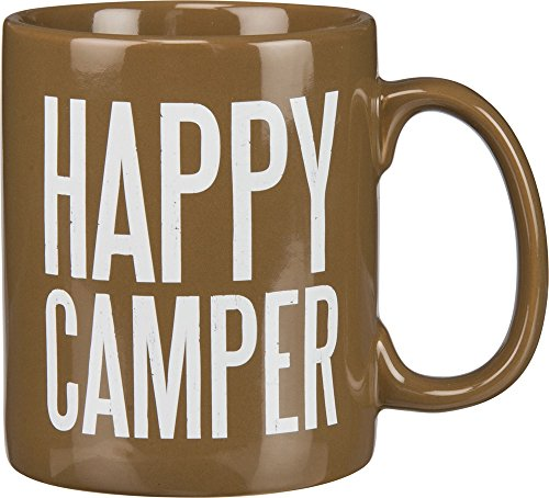 - Primitives by Kathy 21678 Brown Stoneware Coffee Mug, 20-Ounce, Happy Camper