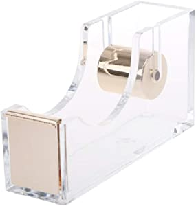 LUYING Desktop Clear Tape Dispenser Acrylic Nonslip Tape Cutter Heavy Duty [Elegant and Modern Design] Office Stationery (Gold)