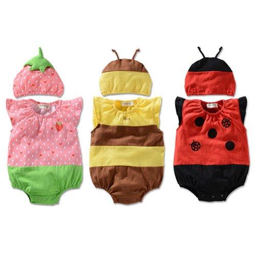 [LOCOMO Baby Unisex Fruit Insect Strawberry Ladybug Bee Bodysuit Hat FBB004s02M] (Fruit Hat Lady)