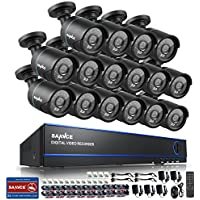 Sannce 16CH 1080N Security Camera System with 16x720P Superior Night Vision CCTV Cameras (P2P Technology, Motion Detection & Alarm Push, Vandal and Weather-Proof Body)