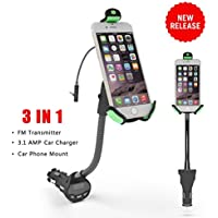 Car Charger Mount, Ixt Upgraded Version Universal Gooseneck Car Mount Holder with 3.1 Amp USB Car Charger and FM transmitter with Over Charge and Over Current Protection for 3.5-6.3 Inch Smartphones