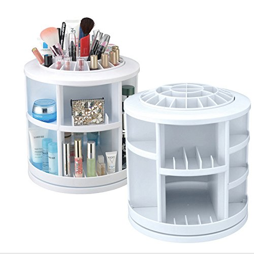 Make Up Cosmetic Jewellery Storage Organiser Box -Rotates 360 Degrees-White by Yanoen