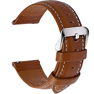 Quick Release Leather Watch Band, Fullmosa Axus Series Genuine Leather Replacement Watch Strap with Stainless Metal Clasp 22mm Brown