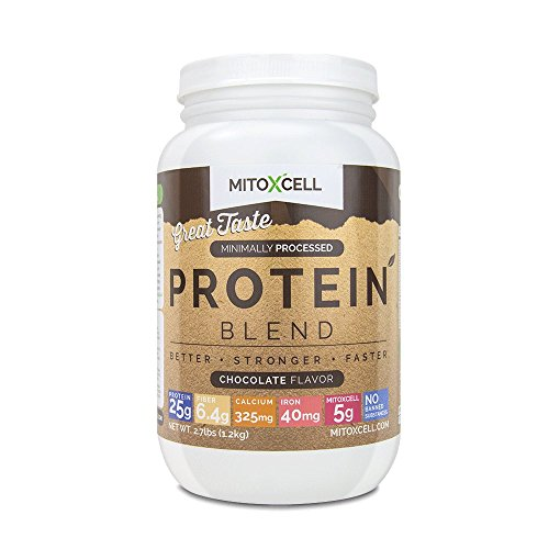 MitoXcell Protein Blend : Whey and Casein Protein Blend with MitoXcell Superfood Blend, BCAA's, L Carnitine and Echinacea – Chocolate, 2.7 Pounds For Sale