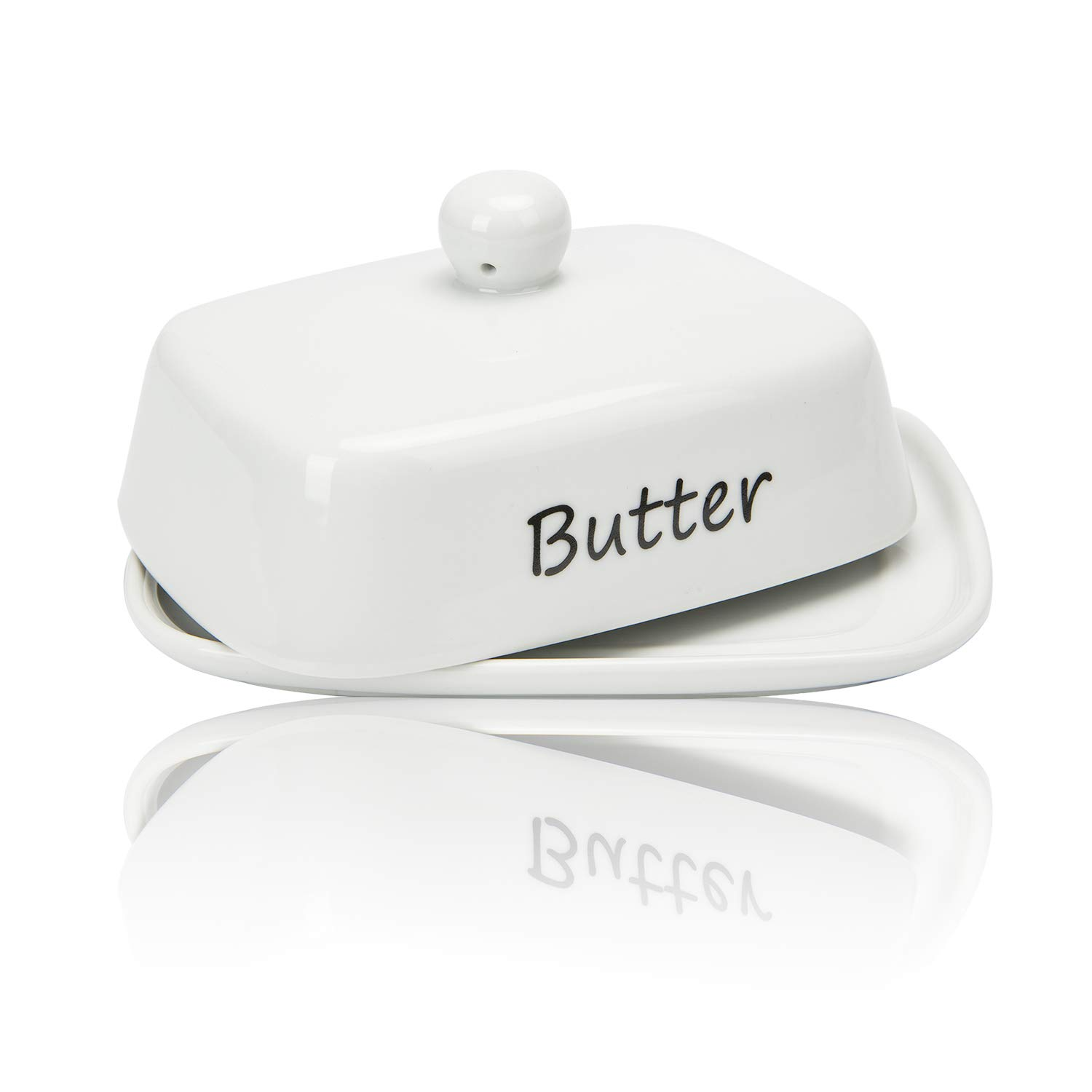 Raveler Butter Dish With Lid, White Porcelain Butter Keeper Suitable for East/West Butter, Butter Container with Cover,Nature Inspired Design