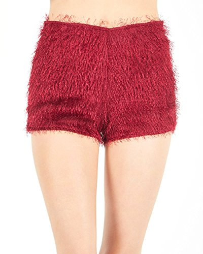 iHeartRaves Red Feelin' It Fuzzy High Waisted Short Shorts (Small) by iHeartRaves