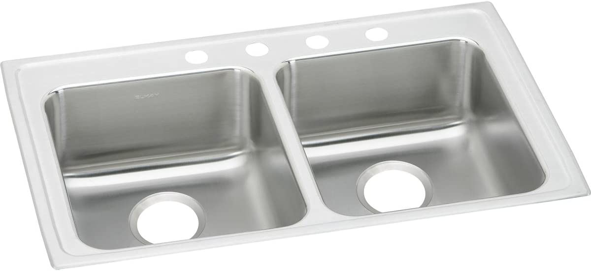 Elkay Lustertone Classic LRAD3321602 Equal Double Bowl Drop-In Stainless Steel ADA Sink