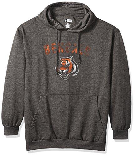 (NFL Cincinnati Bengals Men PULLOVER HOOD W/ CREW, GRAY HTHR, 6X)